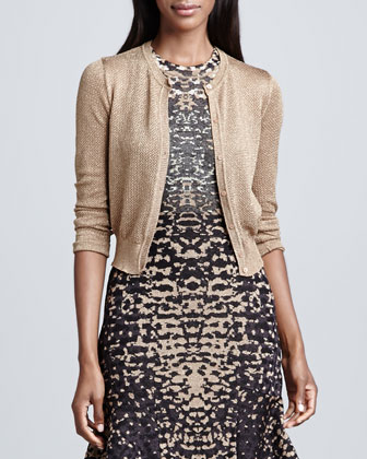 Metallic Mesh Short Cardigan & Lizard-Print Jacquard Dress