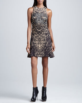 Metallic Lizard-Print Jacquard Dress