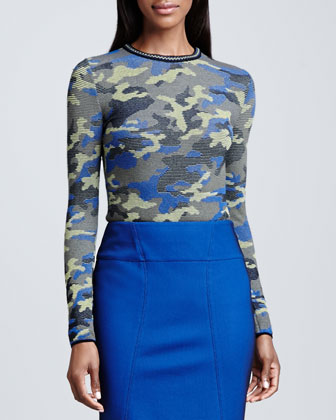 Camouflage Long-Sleeve Top & Pique Pencil Skirt