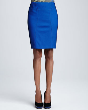 Pique Pencil Skirt, Royal