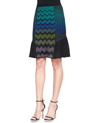 Half-Sleeve Zigzag Striped Sweater & Zigzag Mix-Patterned Flutter Skirt