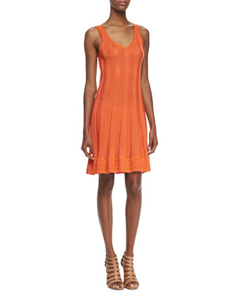 Sleeveless Knit Flutter Dress, Tangerine