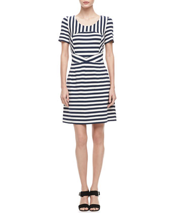 Yuni Striped A-Line Dress