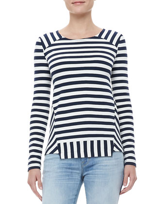 Yuni Striped Ponte Top