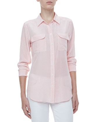 Linear Hoops Slim Signature Silk Pocket Blouse