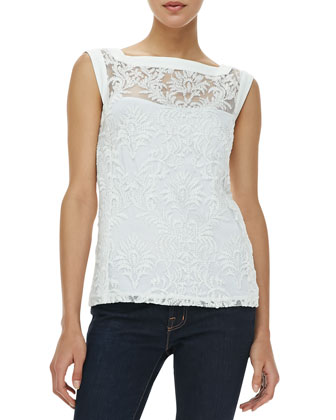Be Happy Sleeveless Embroidered-Overlay Top
