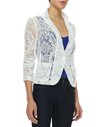 New Wave Notched-Collar Lace Jacket