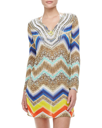 Gaudas Embroidered Short-Sleeve Tunic Coverup