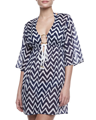 Ava Zigzag Tunic Coverup, Blue/White