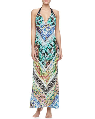 Charlevoid Print Deep V-Neck Maxi Coverup Dress