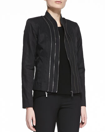 Bella Leather Zip Jacket, Terra Crepe Zip Blouse & Jillian Slim Ankle Pants
