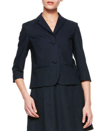 Short 3/4-Sleeve Jacket & Back-Bow Dropped-Waist Dress
