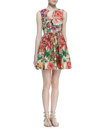 Macro-Flower-Print Poplin Dress, Bougainvillea