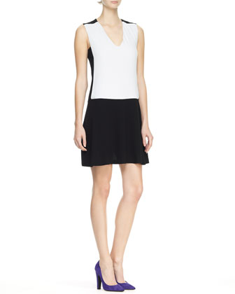 Doria Bicolor V-Neck Dress