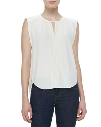 Embroidered-Front Georgette Blouse