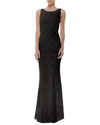 Sachi Fitted Lace Gown, Black