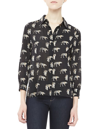 Willa Tiger-Print Blouse