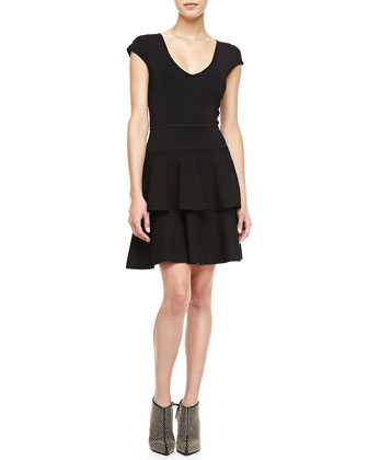 Tiered-Skirt Stretch Knit Dress