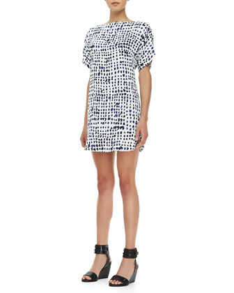 Pixel-Print Stretch-Silk Dress