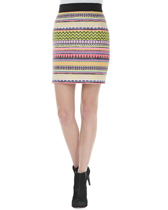 Couture Raffia Sweatshirt & Mini Pencil Skirt