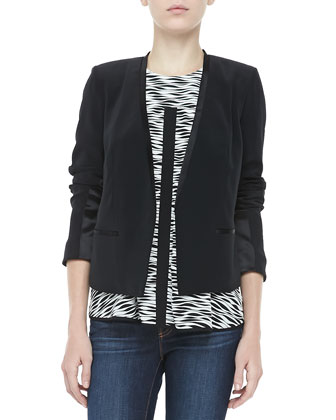Bryant Crepe Open Jacket, Black