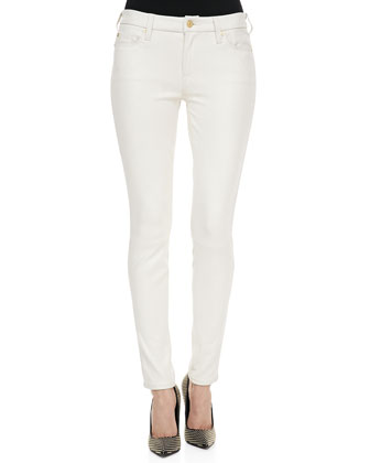 Polished Twill Skinny Pants, Antique White