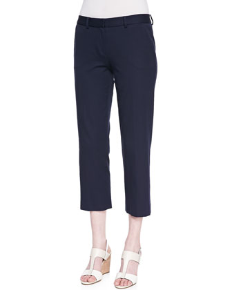 Sloane Cropped-Ankle Pants, Navy