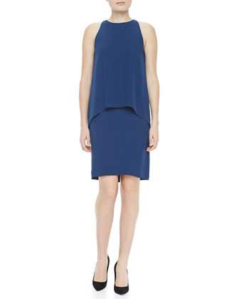 Lyall Layered Sleeveless Dress, Pitch Blue