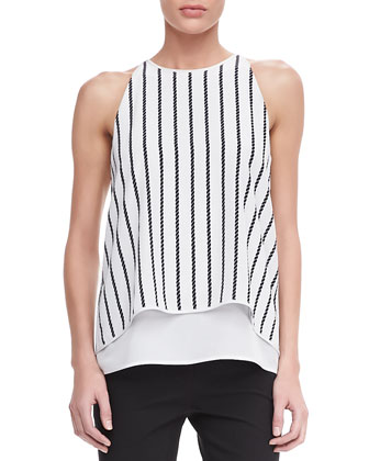 Lyalka C Linear Twine Sleeveless Top, Uniform White