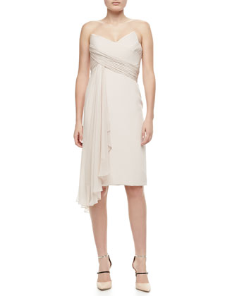 Strapless Cascade-Front Cocktail Dress