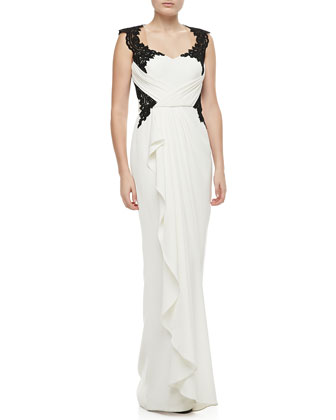 Lace-Bodice Draped Gown