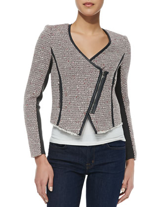 Cutaway Leather-Trim Tweed Jacket