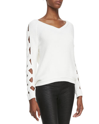 Cutout-Sleeve Ribbed Sweater & Python-Embossed Leather Leggings