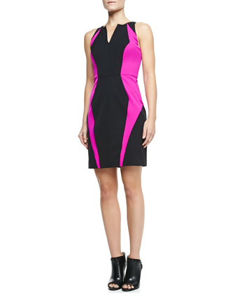 Angular Seamed Two-Tone Jersey Sheath Dress