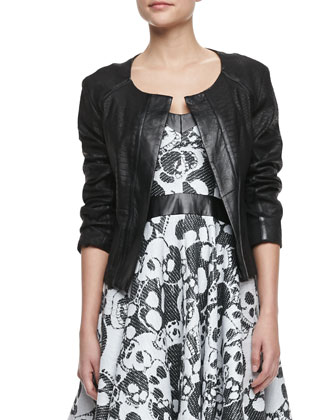 Python-Embossed Leather Jacket & Laughing Skull Leather-Inset Dress