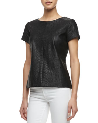 Python Embossed Short-Sleeve Leather Tee