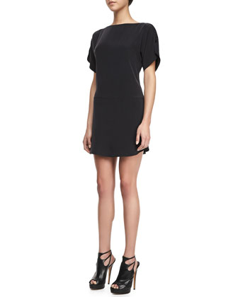 Boat-Neck Silk Shift Dress, Black