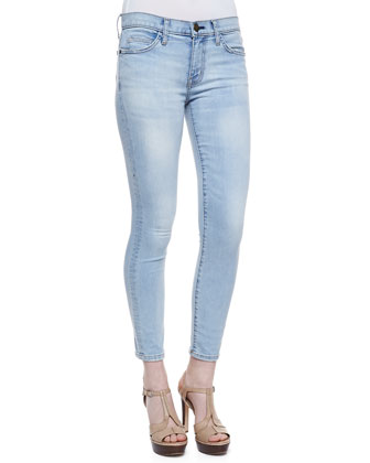 Stiletto Faded Skinny Jeans, Clear Water