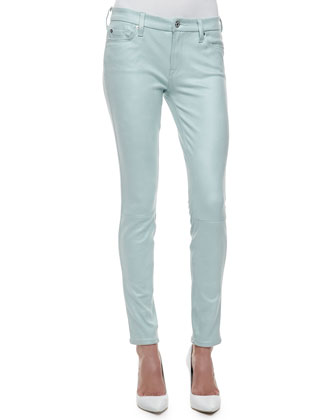Leathery Denim Skinny Jeans, Mint