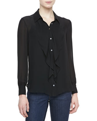 Ruffle-Front Silk Blouse, Black