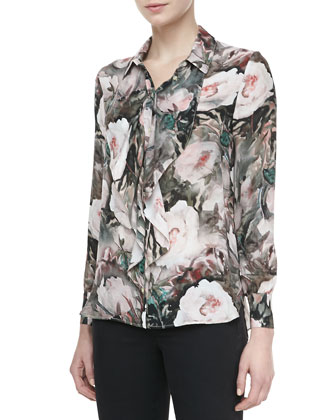 Dream Floral-Print Silk Blouse