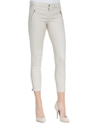 Carey Lacquered Coated Moto Pants, Chalk