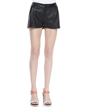 Pleated Leather Tennis Shorts