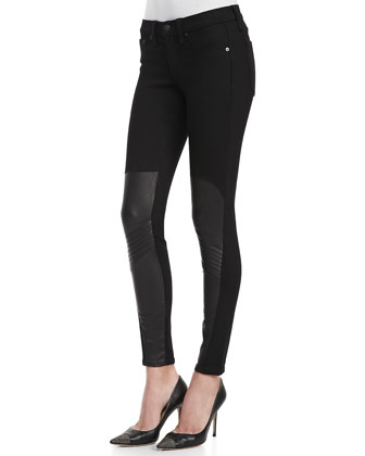Samurai Leather-Patch Leggings