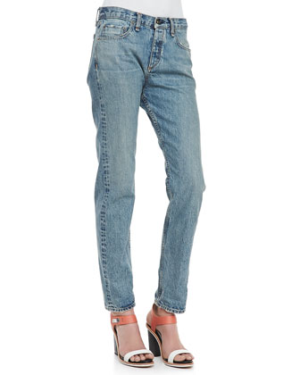 Marilyn Distressed Contrast-Stitching Jeans