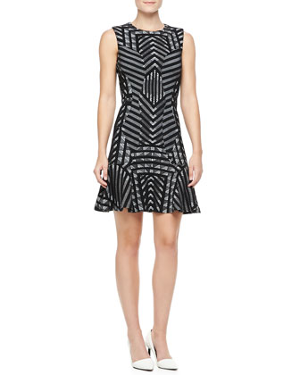 Carlie Printed Fit-and-Flare Dress, Black/White