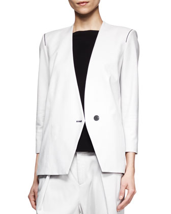 Ark Peak-Front Suiting Blazer and Pleated Pants & Faint Cap-Sleeve Tank