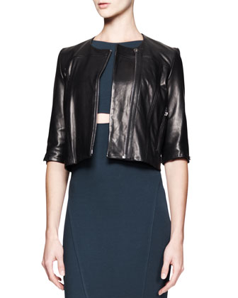Petal Cropped Leather Jacket and Gala Peekaboo Knit Dress