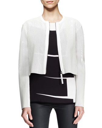 Sift Perforated Crop Jacket and Litho Print-Front Tee