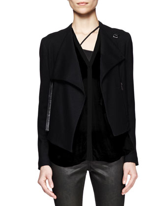 Sonar Wool Cropped Jacket, Lush Twist-Back Shirt & Elst Coated Coal Leggings